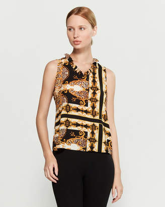 Sioni Ruffle Neck Printed Sleeveless Top