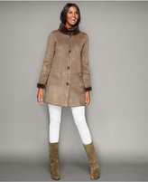 The Fur Vault Shearling Lamb Stand-Collar Coat