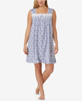Eileen West Plus Size Eyelet-Trimmed Cotton Knit Nightgown