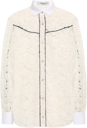 Valentino Pique-trimmed Cotton-blend Corded Lace Shirt