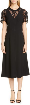 Maison Margiela Lace Contrast Satin Back Crepe Midi Dress