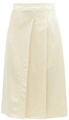 Joseph Sima Pleated Satin Midi Skirt - Ivory