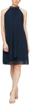 Slny Embellished Mock Neck Chiffon Shift Dress