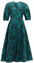 Erdem Cressida Rose-jacquard Cotton Dress - Womens - Green Multi