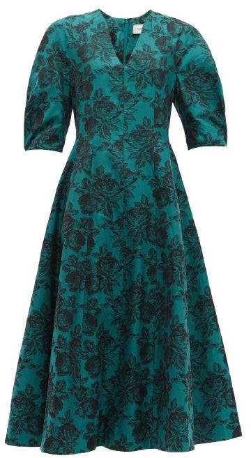Erdem Cressida Rose-jacquard Cotton Dress - Green Multi