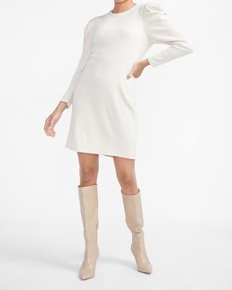 Express Cozy Puff Shoulder Shift Dress