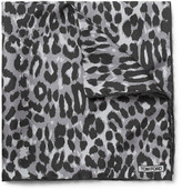 Tom Ford Leopard-print Silk Pocket Square - Gray