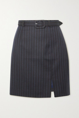 ALEXACHUNG Whatever Belted Pinstriped Wool-blend Mini Skirt - Navy