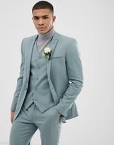 Asos Design DESIGN wedding skinny suit jacket in pastel blue