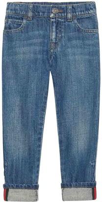 Gucci Light Blue Jeans With Multicolor Details