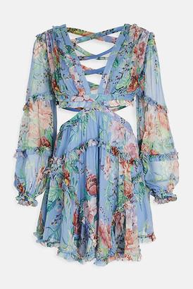 Zimmermann Cornflower Floral Bellitude Cut Out Dress
