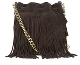 Elizabeth and James Women's Fringed Pouch Bag Chocolate