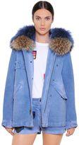 Mini Cotton Denim Parka W/ Murmasky Fur