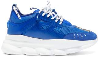 Versace Chain Reaction Mesh And Suede Trainers - Mens - Blue