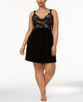 Thalia Sodi Plus Size Lace-Bodice Knit Chemise, Only at Macy's