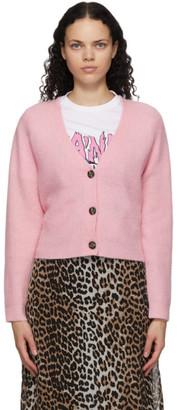 Ganni Pink Wool and Alpaca Cardigan