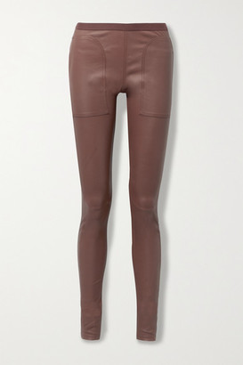 Rick Owens Stretch-leather And Cotton-blend Leggings - Plum