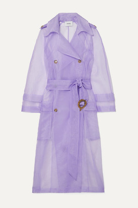 Nanushka Tuscan Belted Organza Trench Coat - Lilac