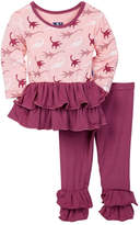 Kickee Pants Plesiosaur Long Sleeve Double Ruffle 2-Piece Set (Baby, Toddler, & Little Girls)