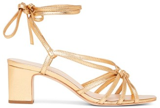 Loeffler Randall Libby Ankle-Wrap Metallic Leather Sandals