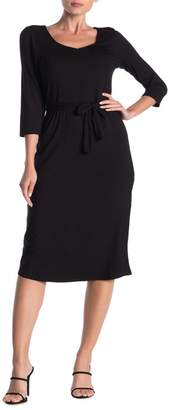 Loveappella V-Neck Waist Tie Dress