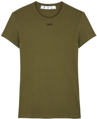 Off-White Army Green Logo Stretch-cotton T-shirt