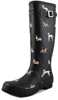 Joules Wellyprint Women Round Toe Synthetic Black Rain Boot.