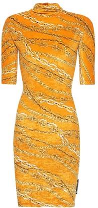 Balenciaga Printed stretch-velvet dress