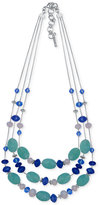 Nine West Silver-Tone Blue Bead Triple-Row Necklace