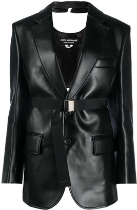 Junya Watanabe Faux-Leather Buckled Blazer