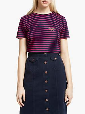 People Tree Happy Embroidered Stripe T-Shirt, Navy/Pink