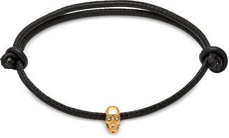 Northskull Skull Friendship Bracelet_White Swarovski Black Leather & Yellow Gold