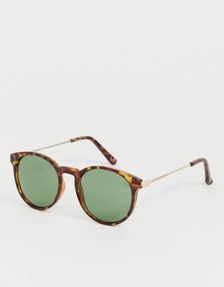 Asos Design DESIGN retro sunglasses in tort with dark green lens-Brown