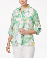 Alfred Dunner Petite Bahama Bays Floral-Print Layered-Look Top