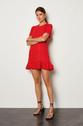Karen Millen Puff Sleeve Ruffle Hem Mini Dress