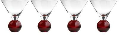 Red Martini Ball Glass Set of 4
