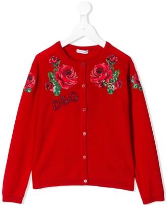 Dolce & Gabbana Kids Rose Embroidered Cardigan