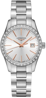 Longines Conquest Classic 34MM Diamond Case Stainless Steel Watch