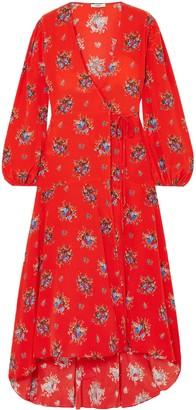 Ganni Kochhar Floral-print Silk Crepe De Chine Maxi Wrap Dress