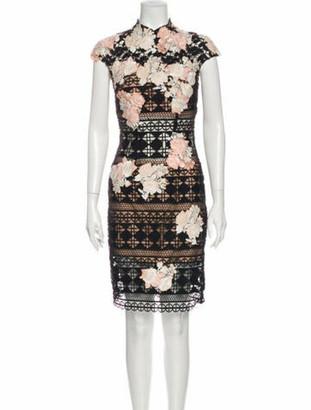 Jovani Lace Pattern Knee-Length Dress Black
