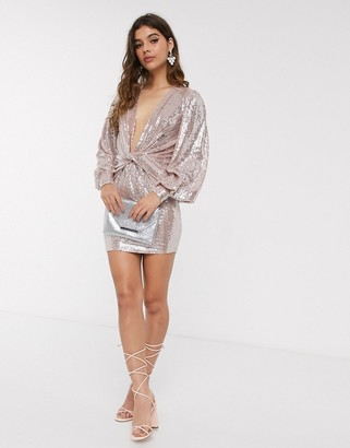 John Zack sequin plunge front knot detail mini dress in pale pink