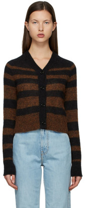 Acne Studios Brown and Grey Alpaca Stripe Cardigan
