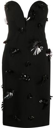 Versace Embroidery Silk Midi Dress