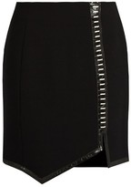 Thierry Mugler Leather-trimmed wool mini skirt