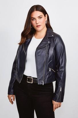 Karen Millen Curve Leather Signature Biker Jacket