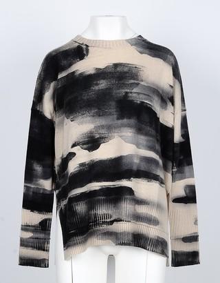 Lamberto Losani Tye-dye Wool, Silk and Cashmere Blend Beige Women's Sweater