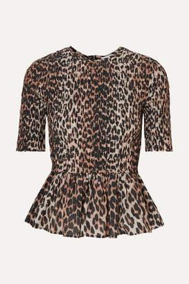 Ganni Shirred Leopard-print Cotton And Silk-blend Peplum Top - Leopard print