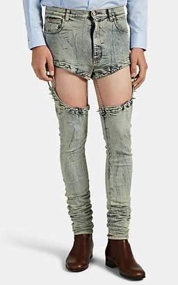 Gucci Men's Acid-Washed Skinny Harness Jeans - Lt. Blue