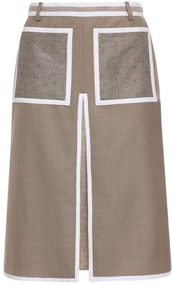 Burberry Color Block Wool & Cashmere Skirt