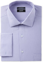 Alfani Men's Classic/Regular Fit Performance Stretch Easy-Care French Cuff Lavender Step Twill Dress Shirt, Only at Macy's